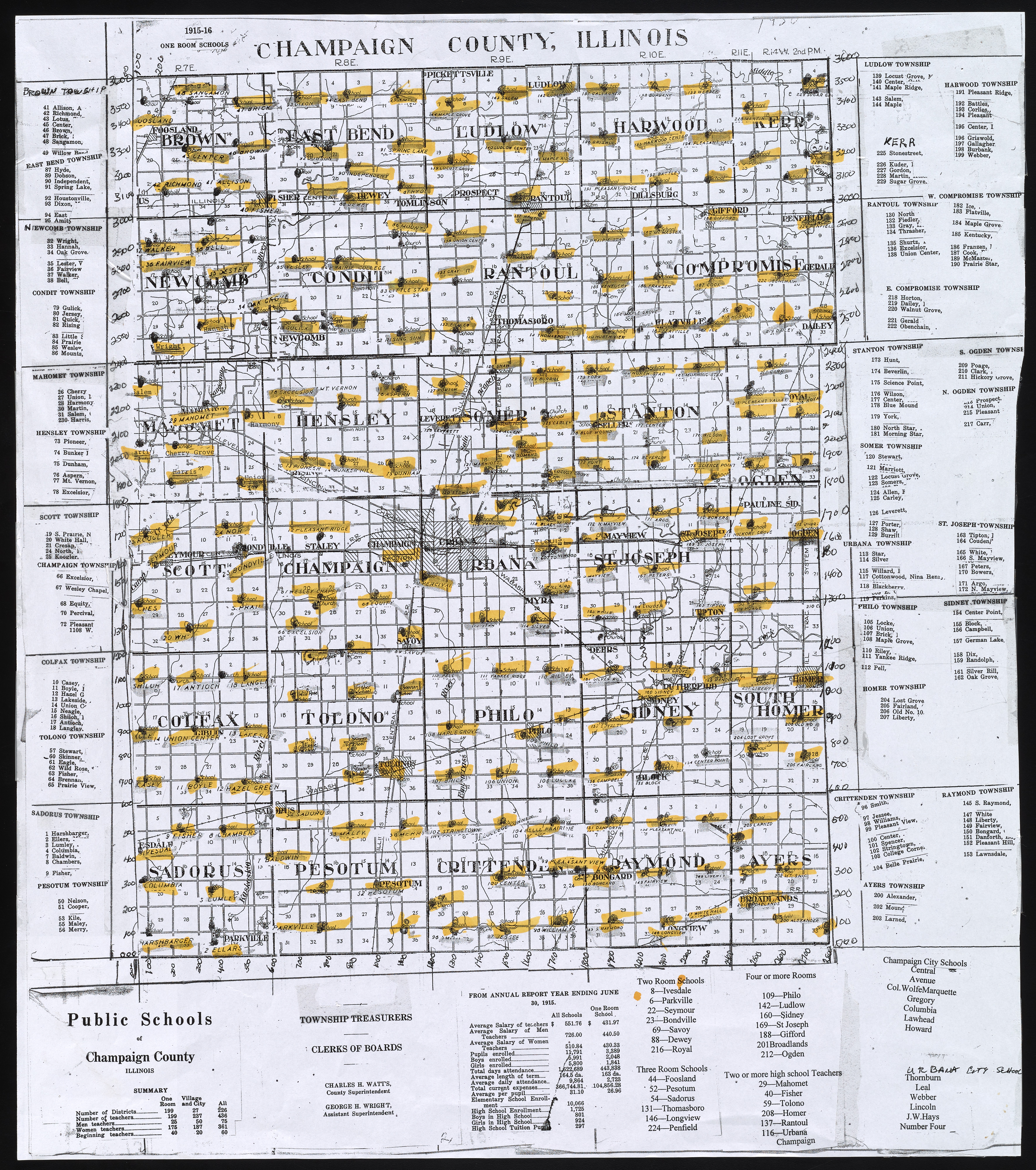 One Room Schools map, Champaign County 1915-1916