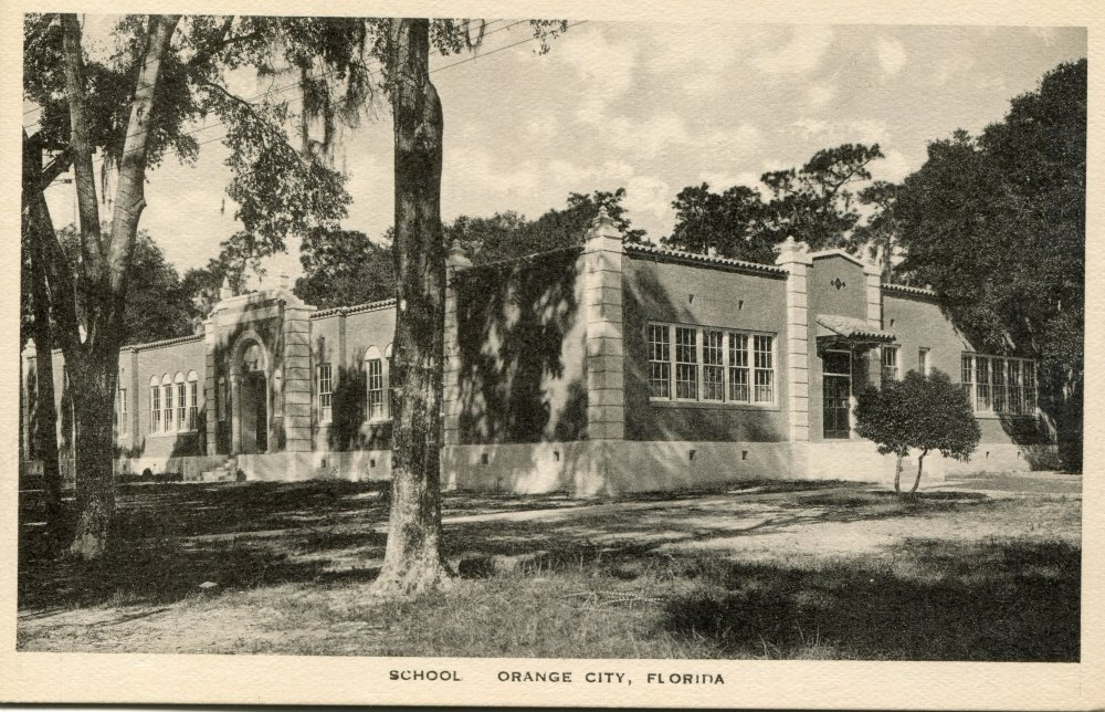 Orange City Elementary School, Orange City Florida. c.1930. Postcard.