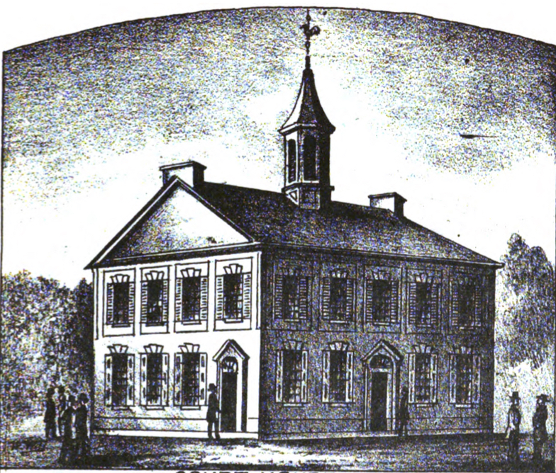 "Illustration of first Franklin County Courthouse, in use from 1794 to 1842, from the frontispiece of McCauley's ""Historical Sketch of Franklin County, Pennsylvania."""