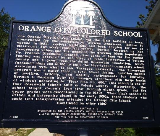 Orange City Colored School Plaque, front side.