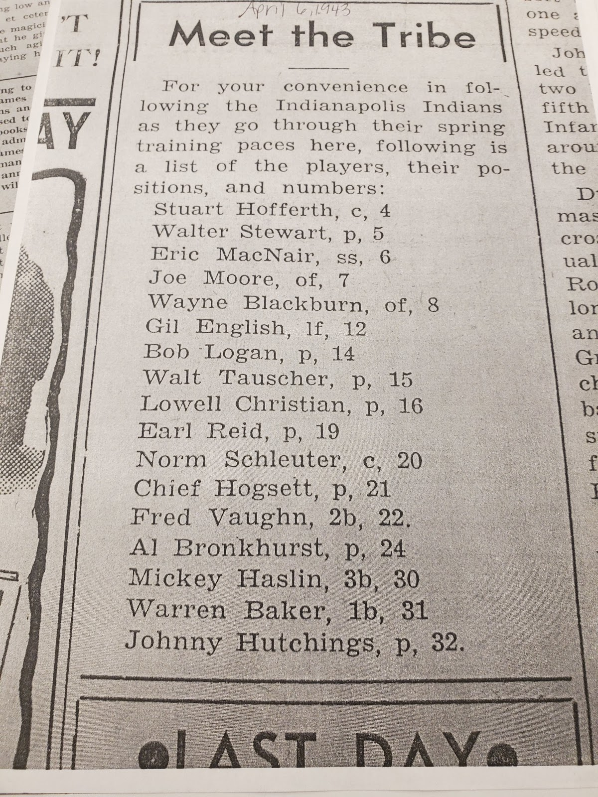 IDS copy of Indianapolis Indians 1943 Roster