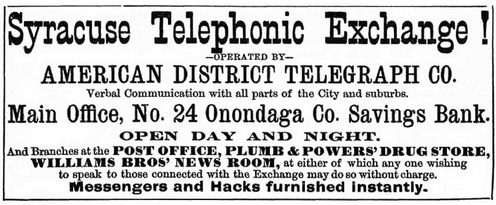 Syracuse Telephonic Exchange - 1879