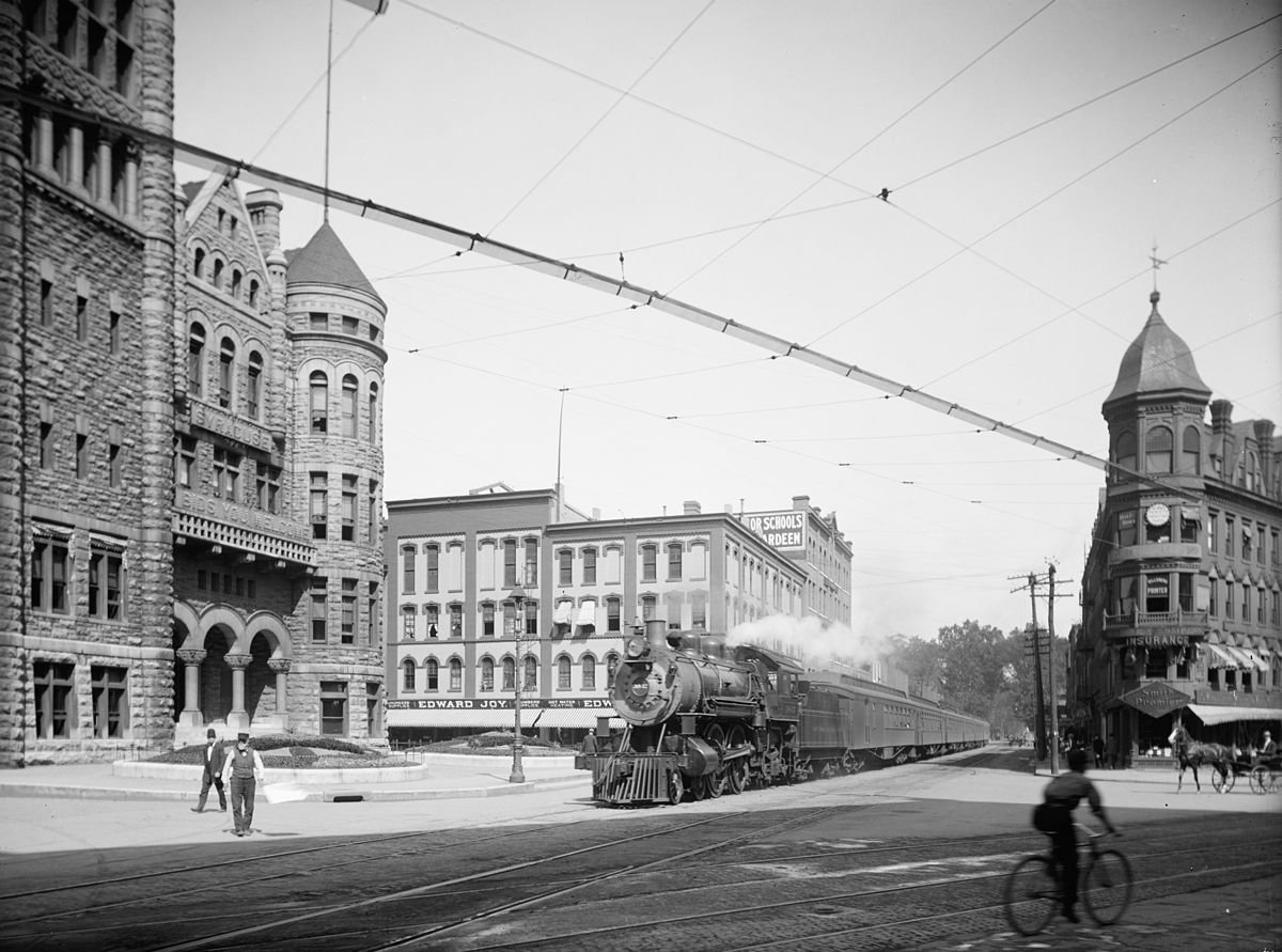 View of early telephone wires in Downtown Syracuse. (Taken during the period of 1900–1915, but exact date is unknown.)