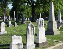 Examples of headstones and monuments in Shockoe Hill Cemetery
