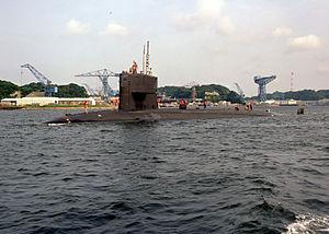 """USS Drum"" going underwater."