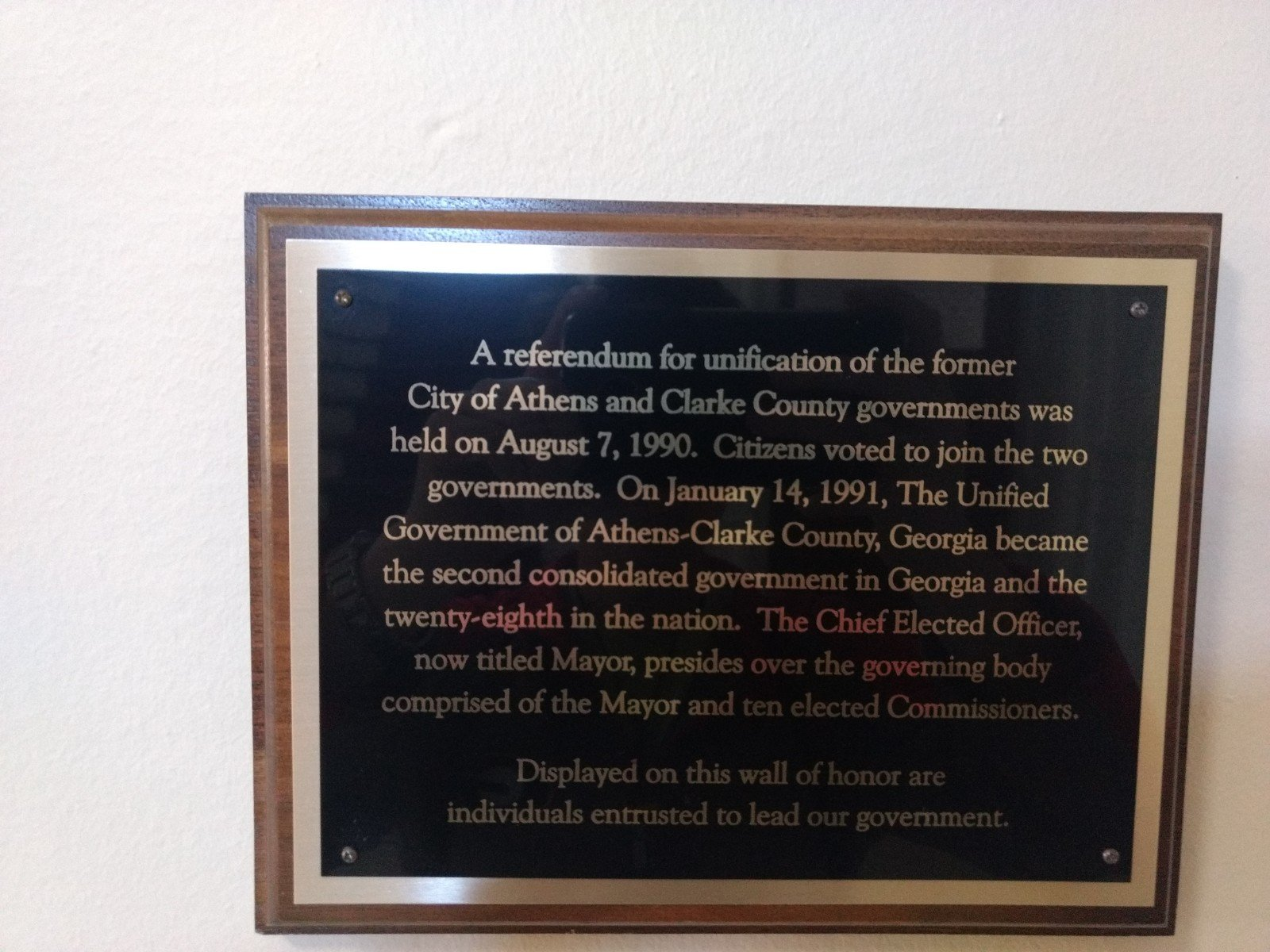 This plaque commemorates the unification of the city of Athens and Clarke County