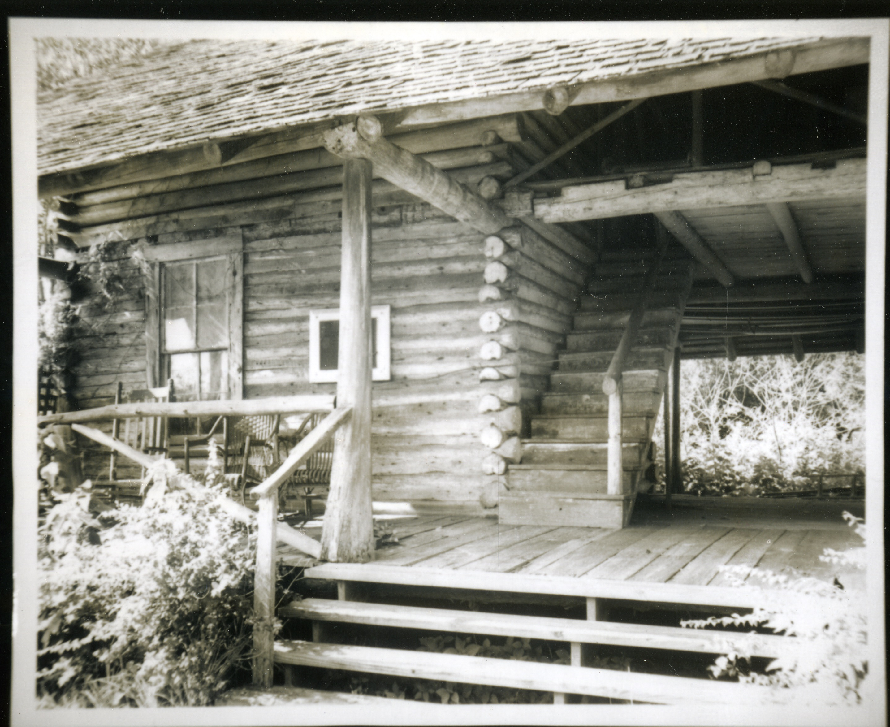 View of the porch of the McMullen-Coachman Log Cabin, Clearwater, Florida, circa 1966.