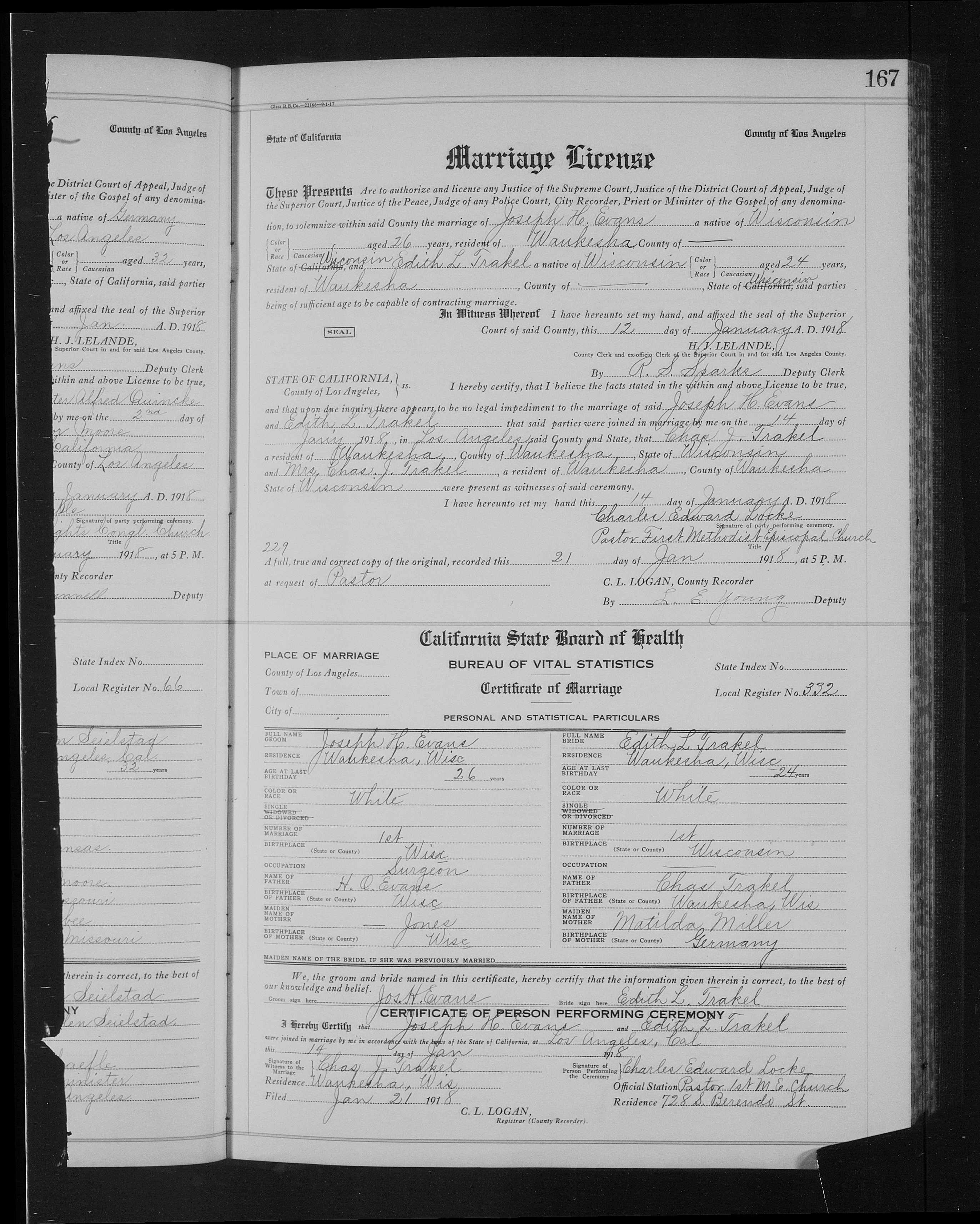 Marriage License for Joseph Evans & Edith Trakel, 1918 in Los Angeles California