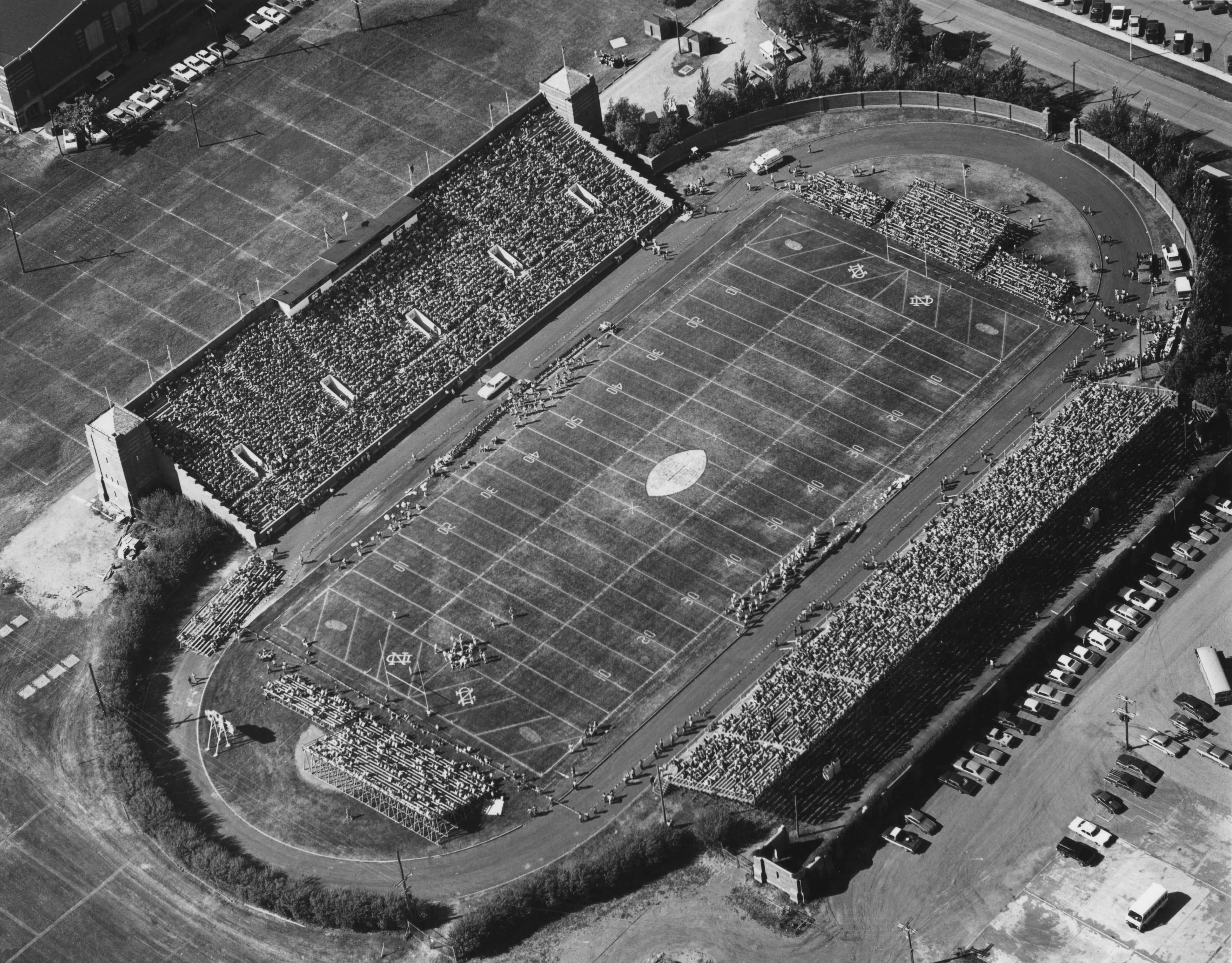 Aerial view of the Memorial Stadium during its first home game dated October 8th, 1927.
