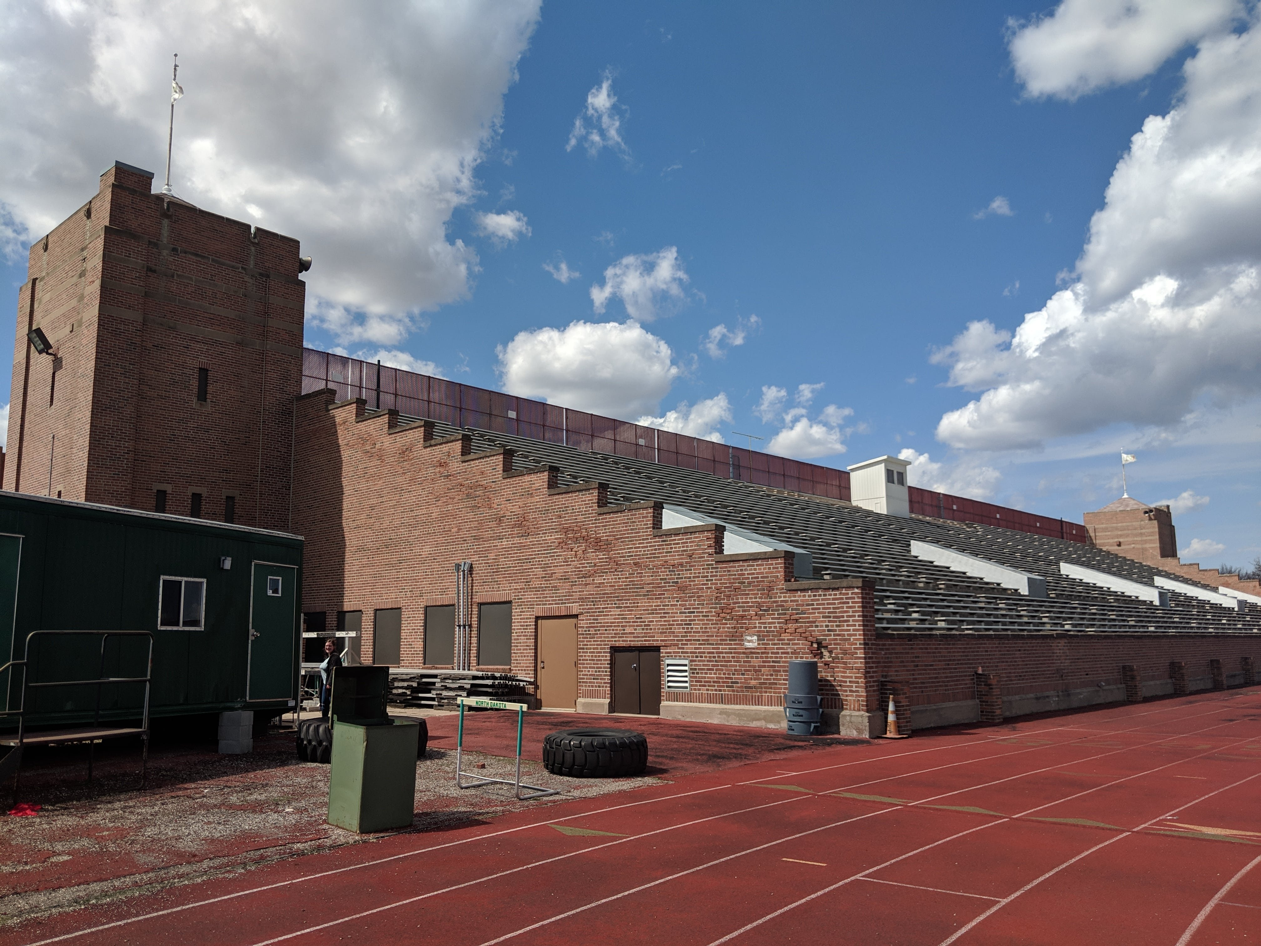 The grandstands of the Memorial Stadium taken from the south end of the field.