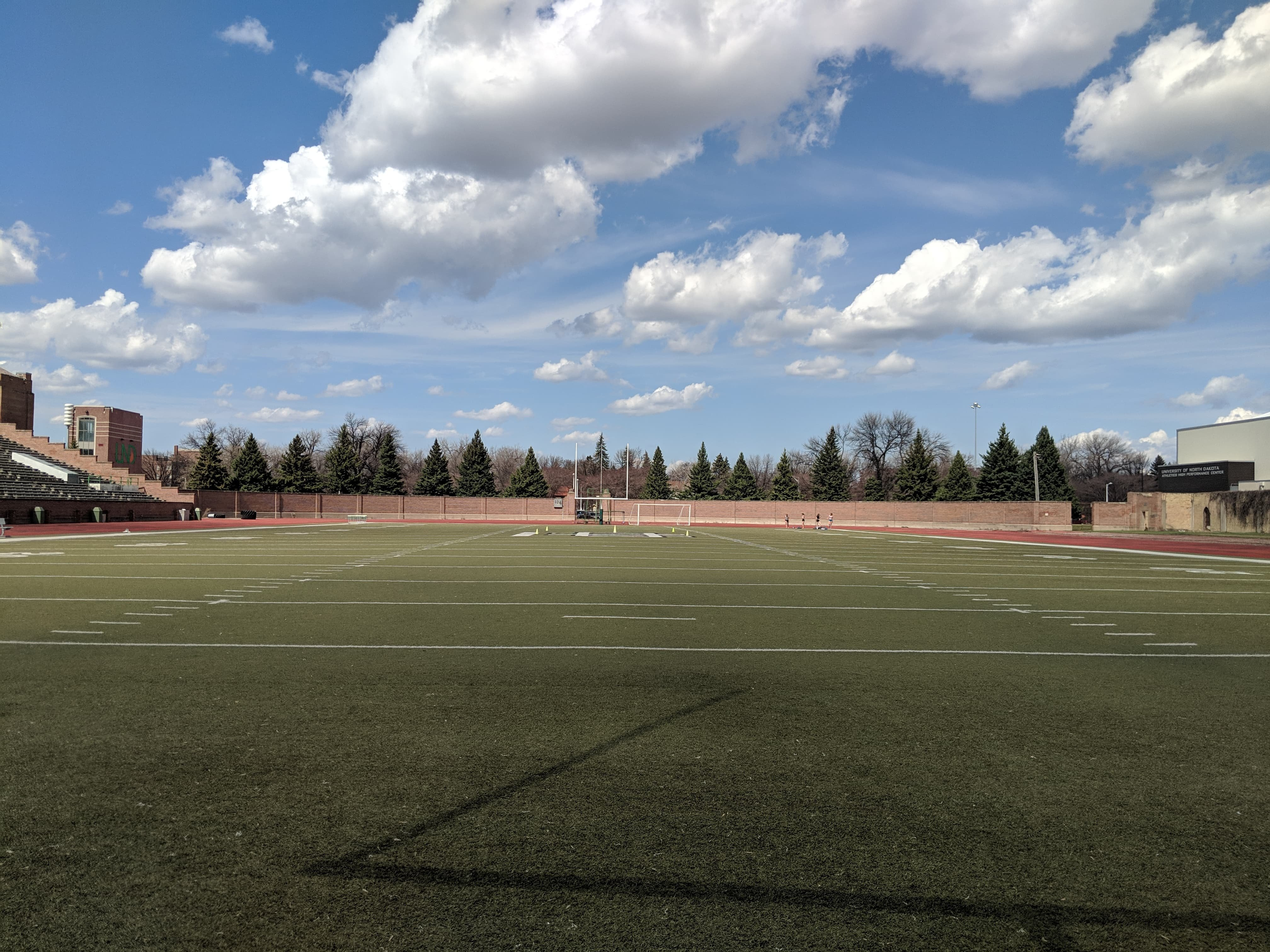 Ground level view of the turf from the south end of the field.