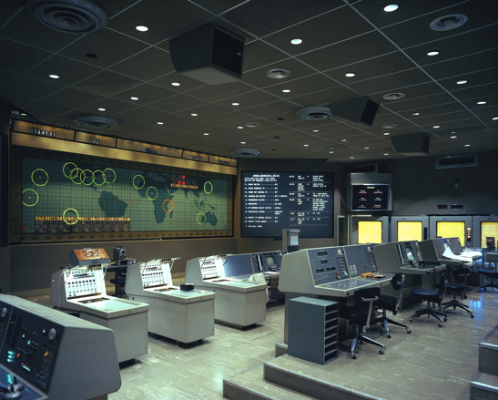 This is the Gemini era mission control center that used basic controls and technology to aid the first humans in space.
