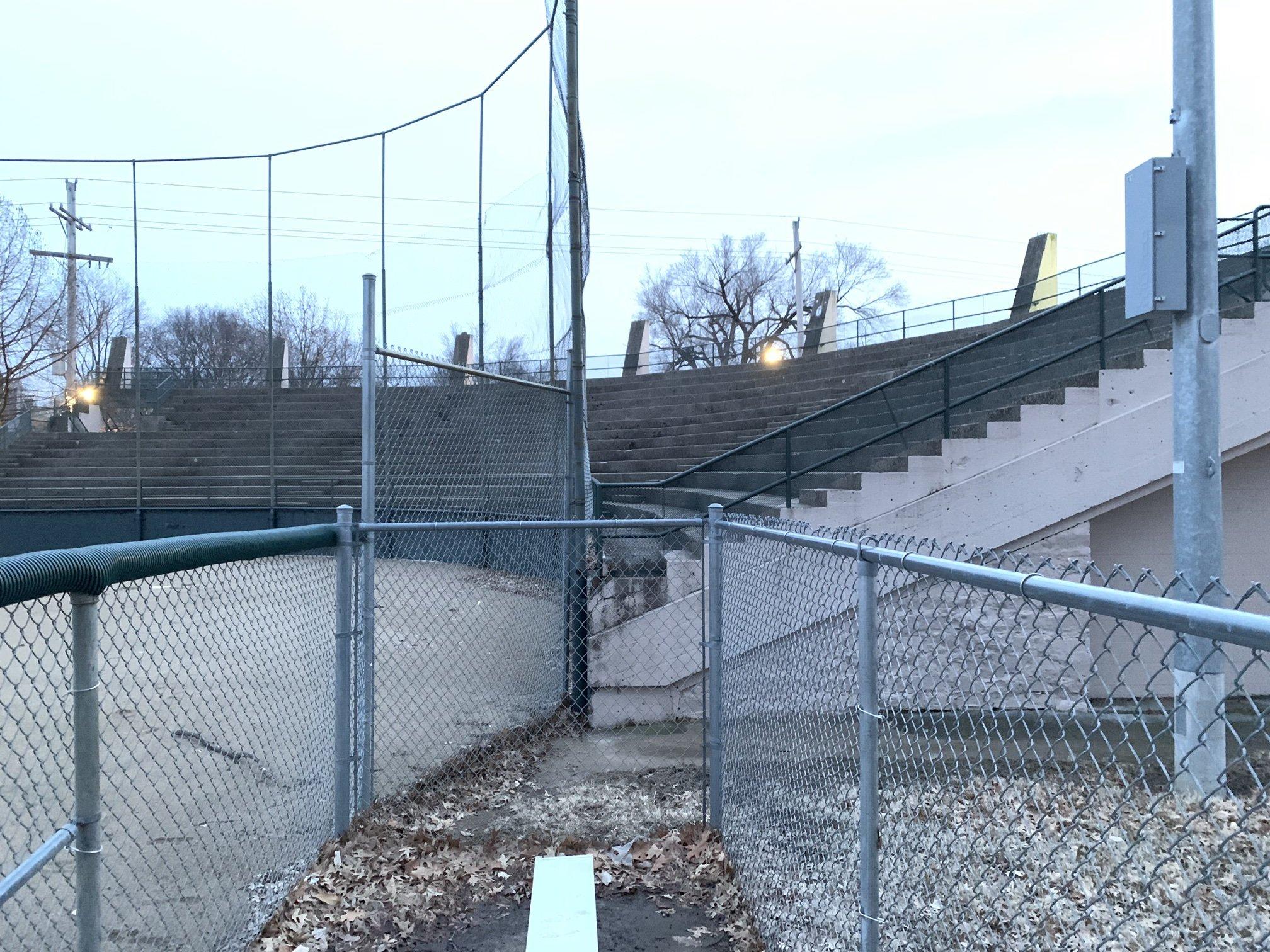 The seating at the baseball stadium.