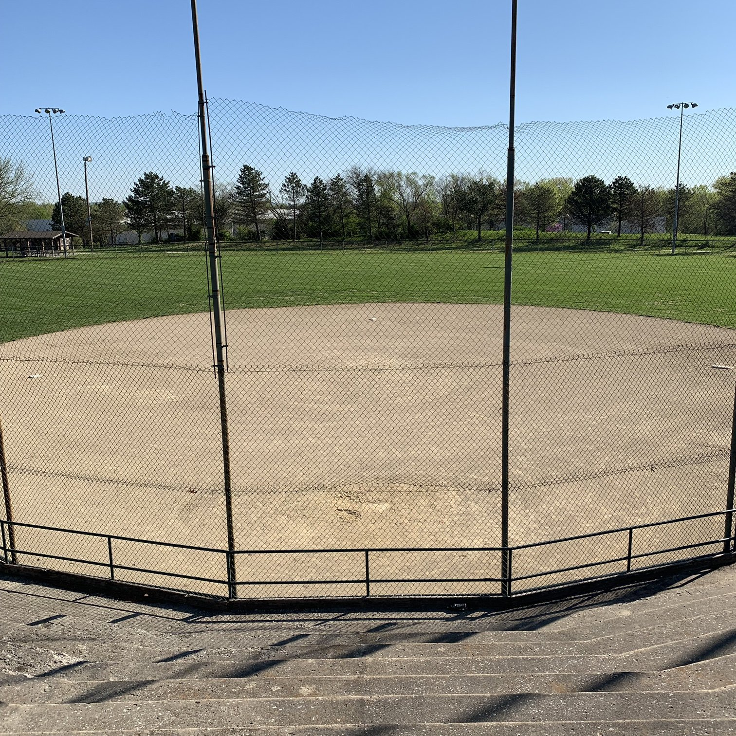 The view from the top of the baseball stands.