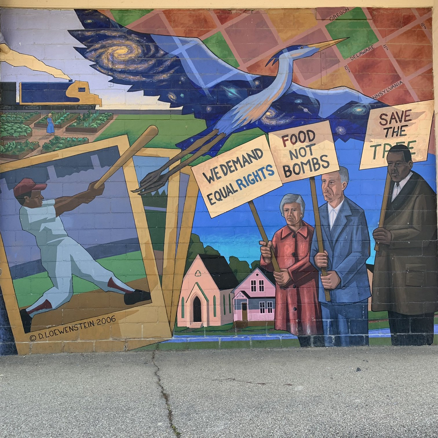 Panel of the mural including various human rights activists.