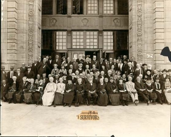 This is a picture of the survivors of Quantrill's raid 60 years after the event. It is taken in front of Strong Hall at the University of Kansas.