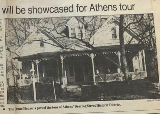 1988 photograph of Dr. Orme's house for a tour of homes.