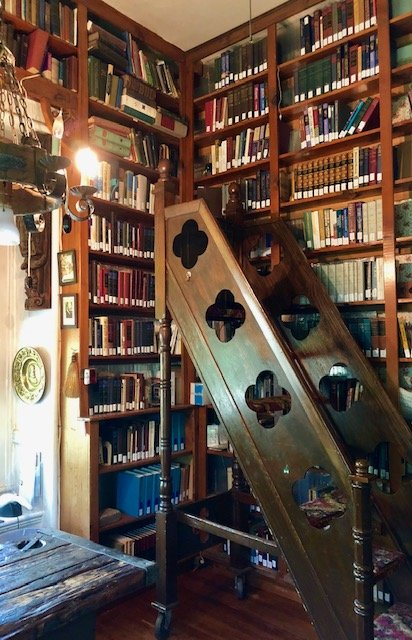 Additional views of the library, complete with a rolling ladder Dr. Orme built himself. The present library is the original Bloomfield chapel.