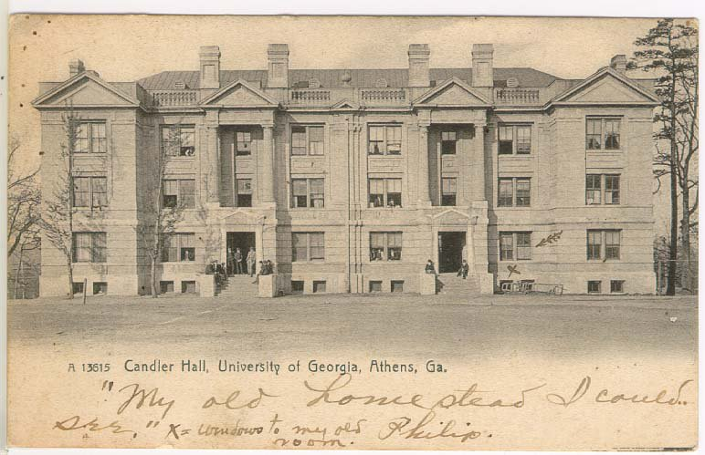 Candler Hall in 1907, depicted on a postcard belonging to a student at the time, sophomore Philip M. Cleveland from Griffin, Georgia.
