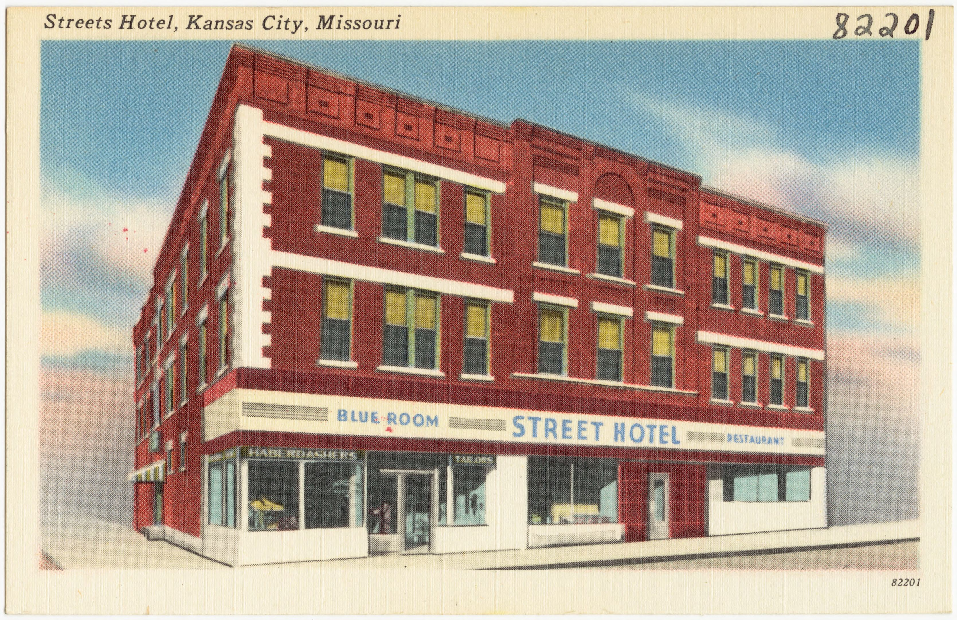 Street's Hotel, as it was known, was owned by Reuben and Ella Davidson Street. The Blue Room was a major venue in the city's jazz scene.
