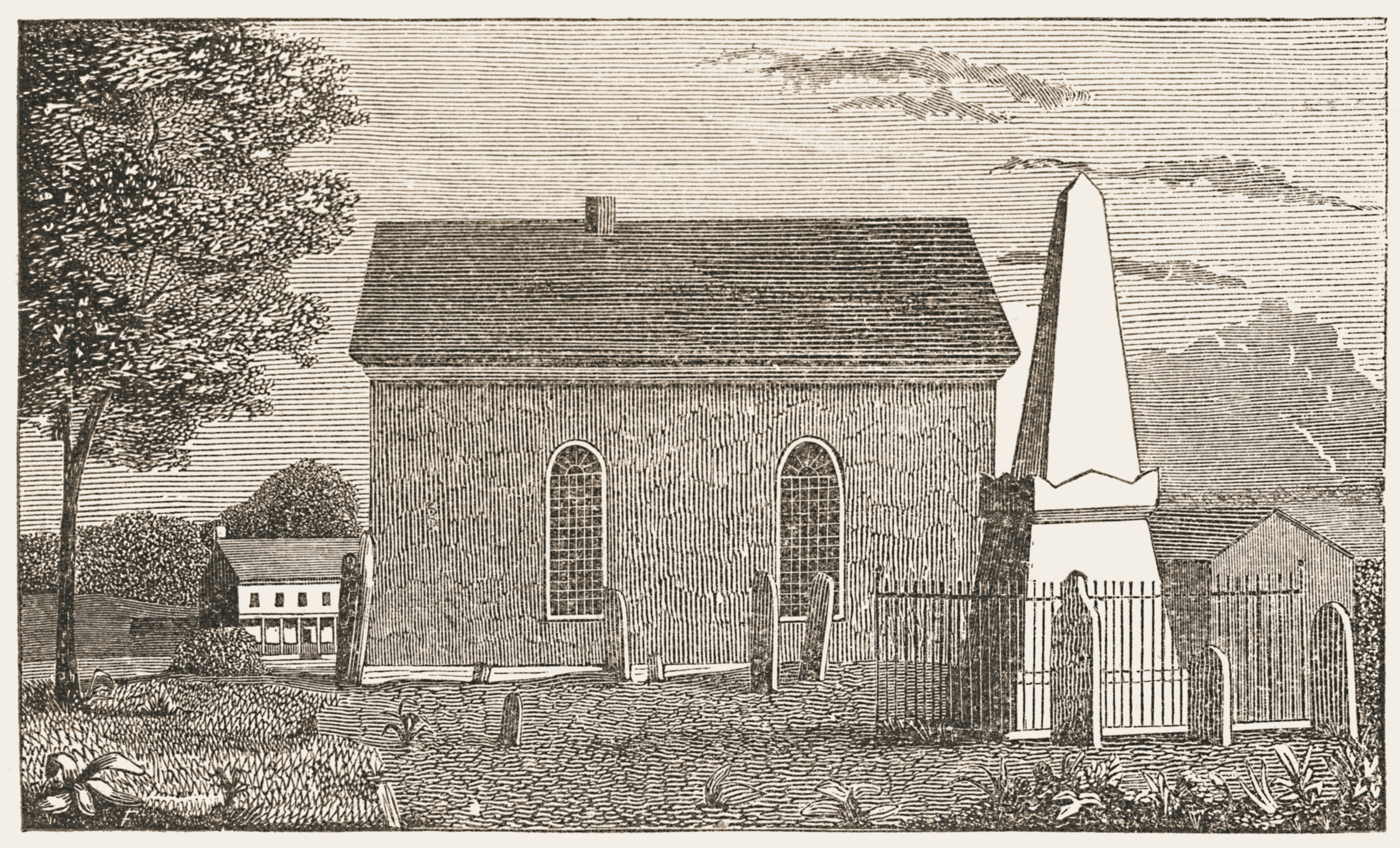 Elmsford Reformed Church and Cemetery in 1848.  The large monument stands at the grave of Isaac Van Wart.