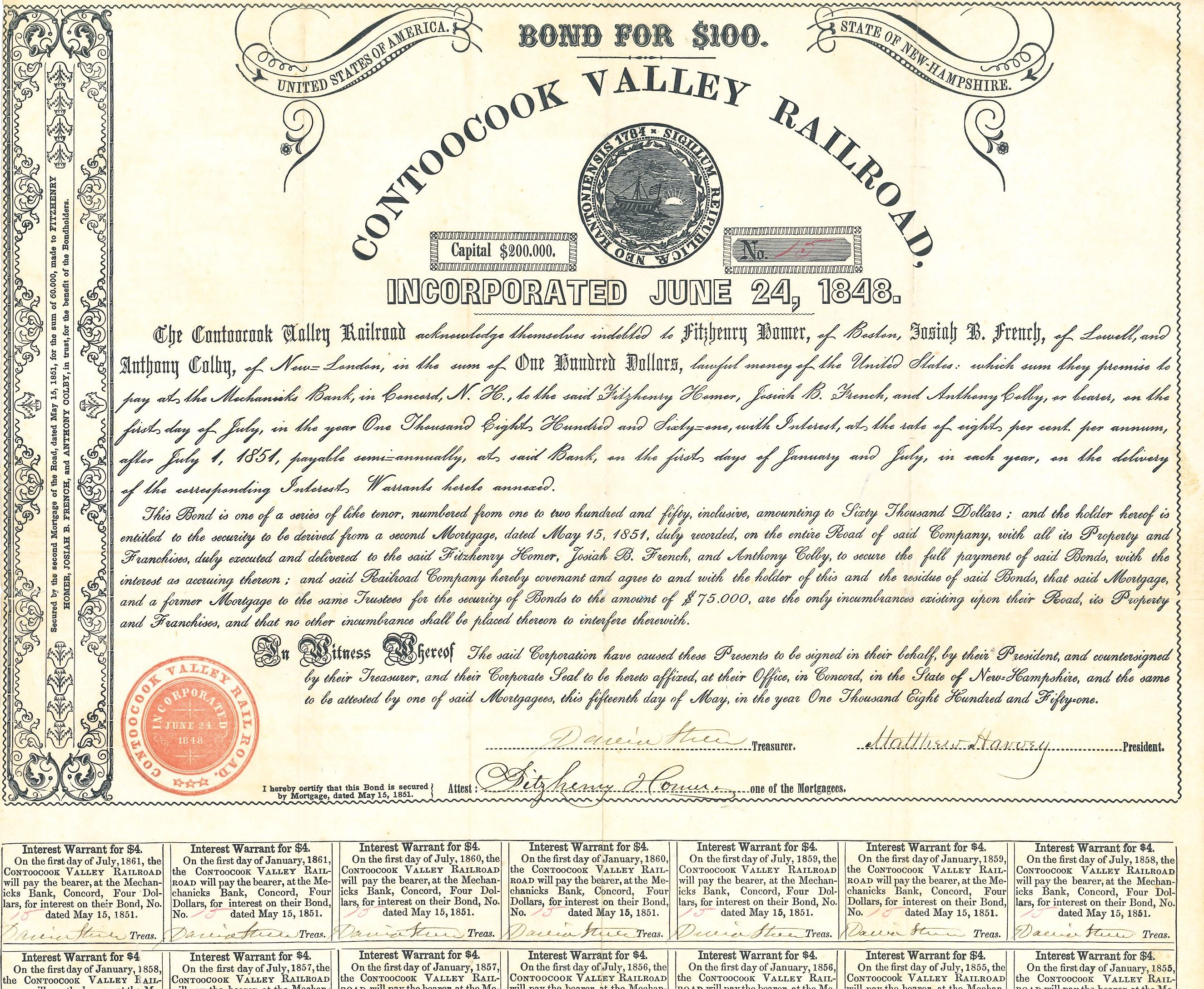 Image of the Contoocook Valley Railroad bond, which offered investors $4 for every $100 bond purchase.