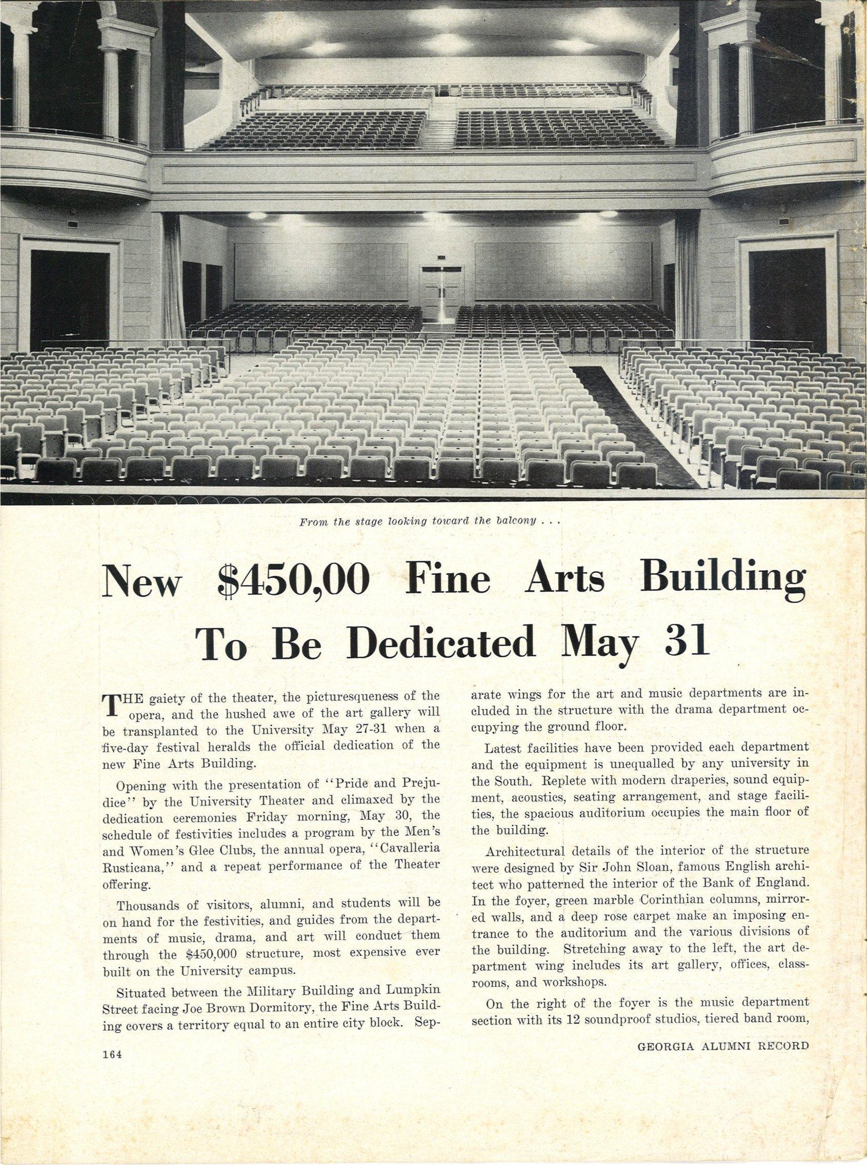 New Fine Arts Building announcement from Georgia Alumni Record, 1941.