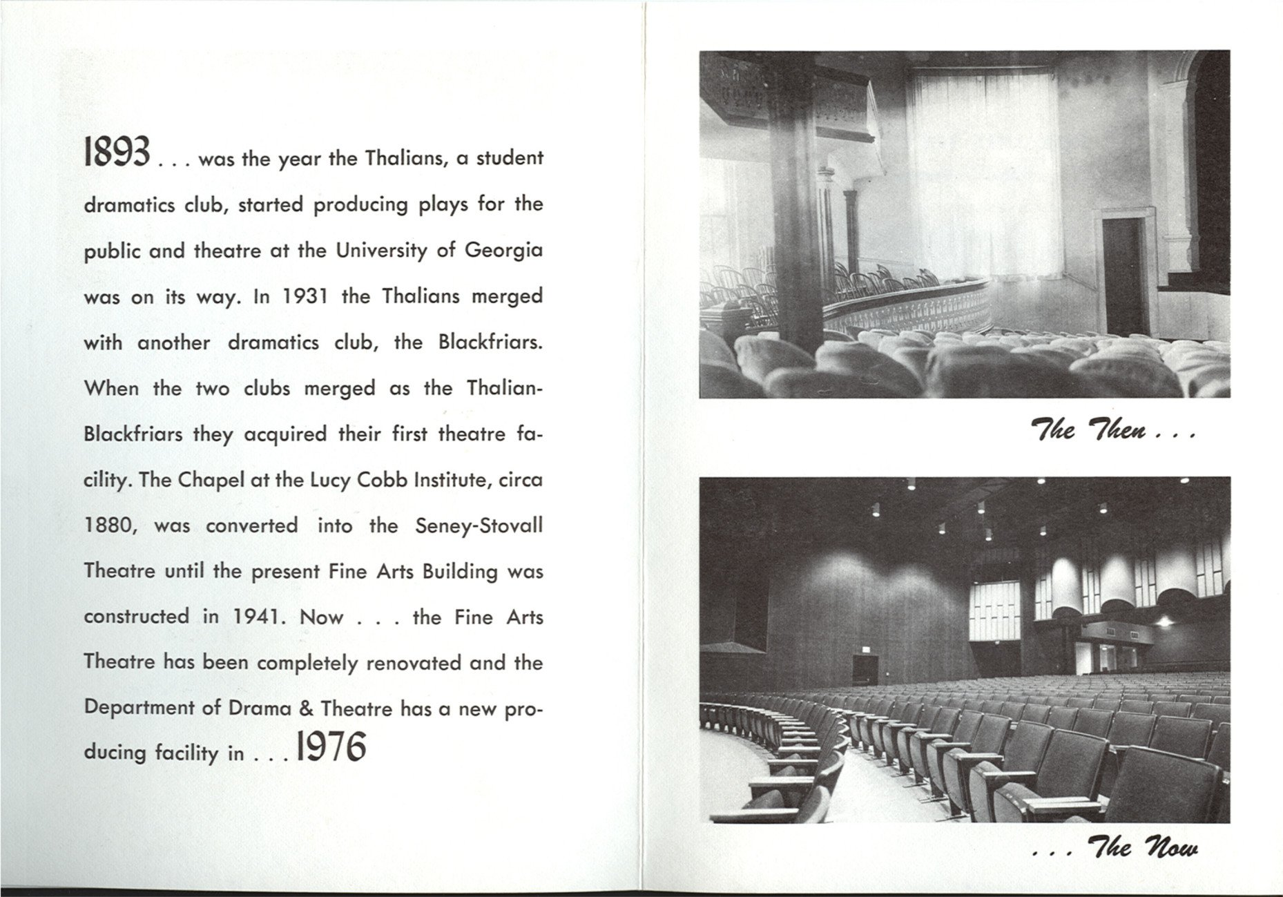 From 1976 Opening Reception program