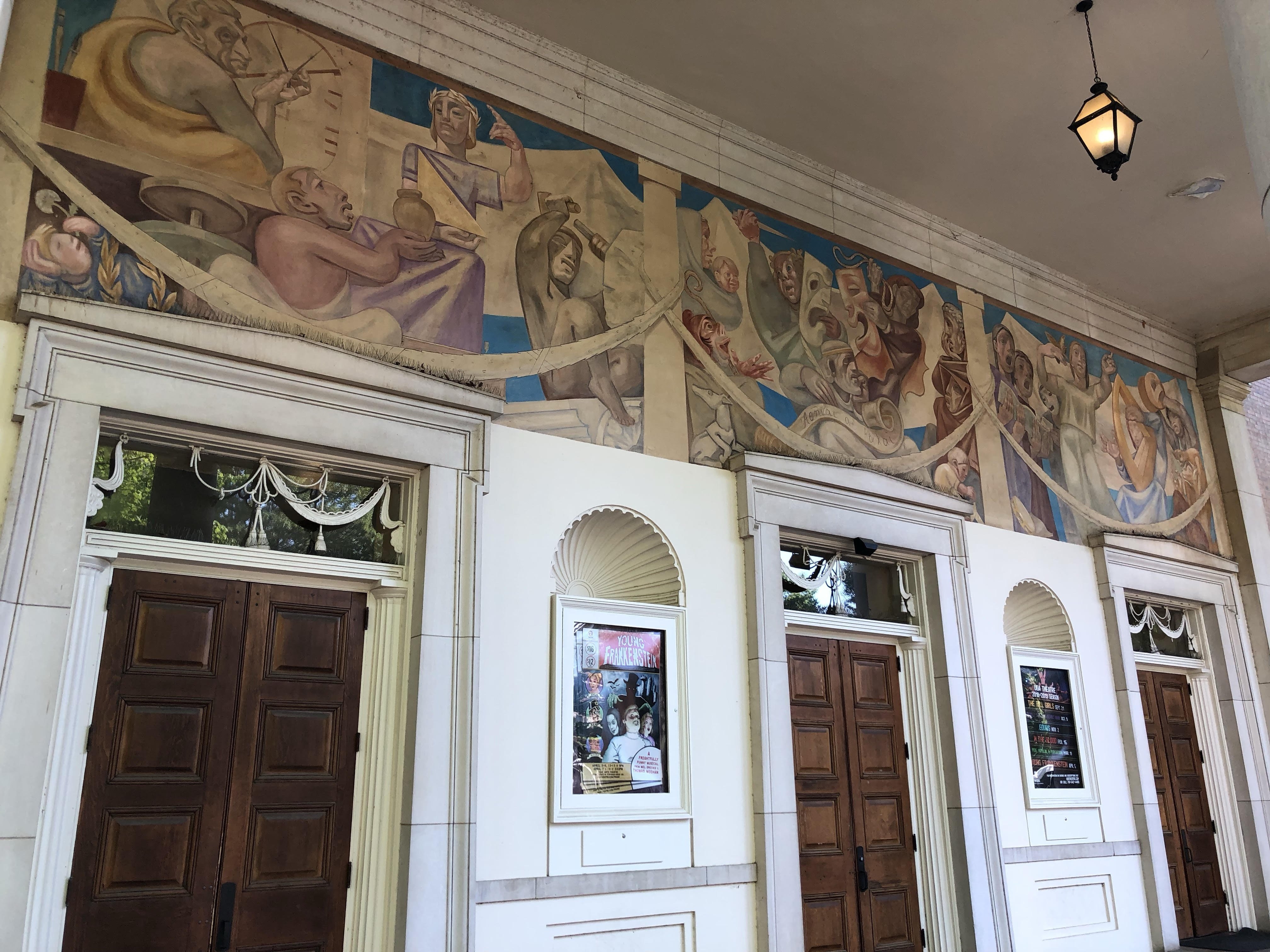 Grand mural adorning the building's main entrance (looking eastward).