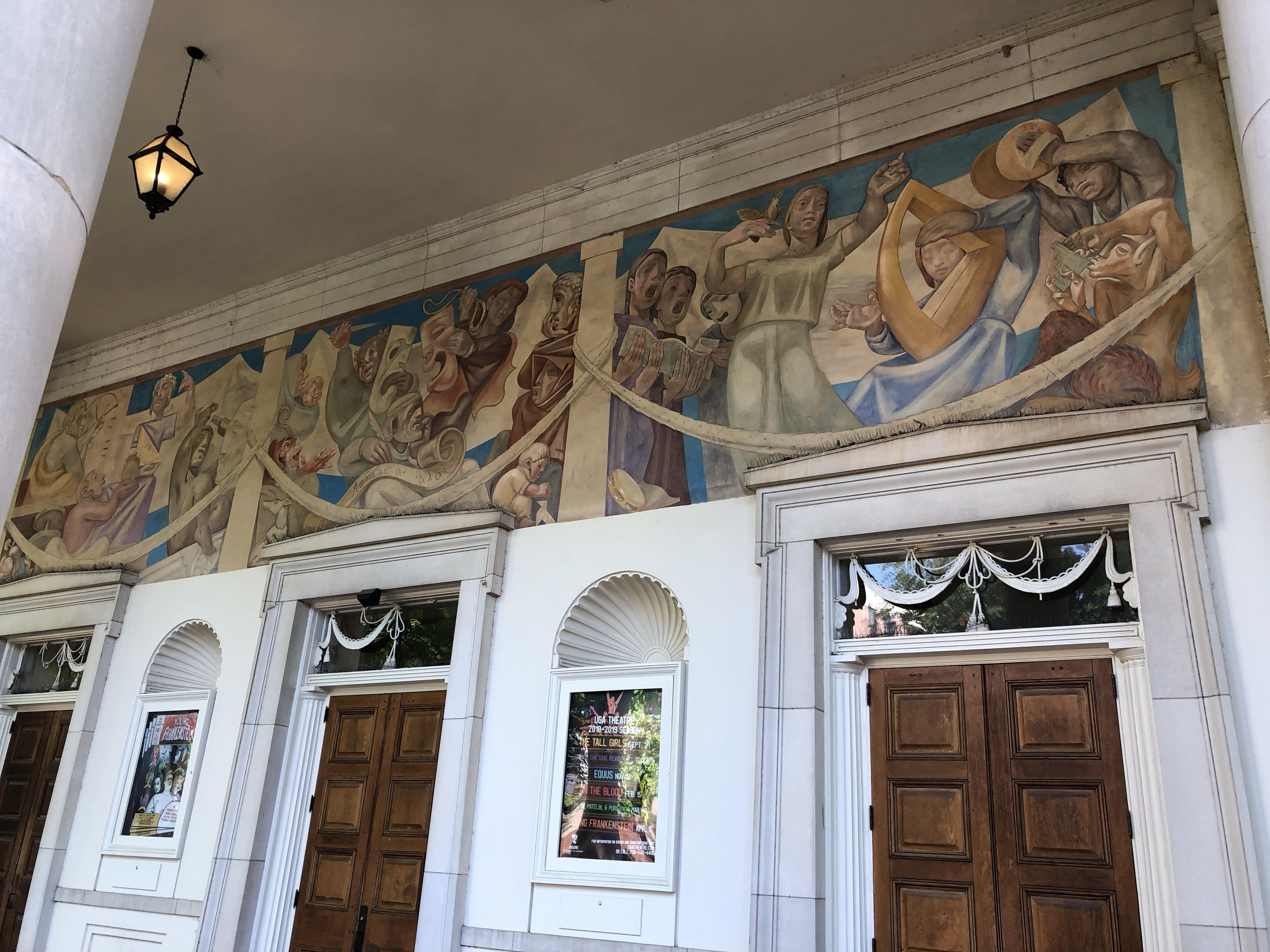 Grand mural adorning the building's main entrance (looking westward).