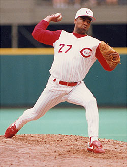 Cincinnati Reds 1993 Home Uniforms, as seen here on pitcher Jose Rijo
