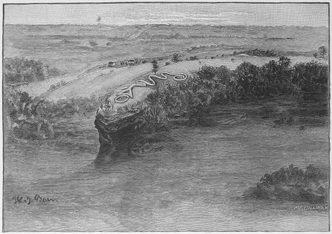 Illustration that reflects the positioning of the mound over the creek.