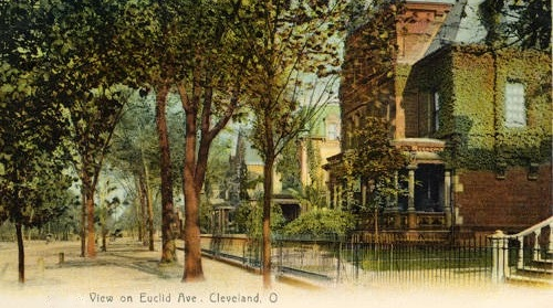 A painting of Mather Mansion in its younger years