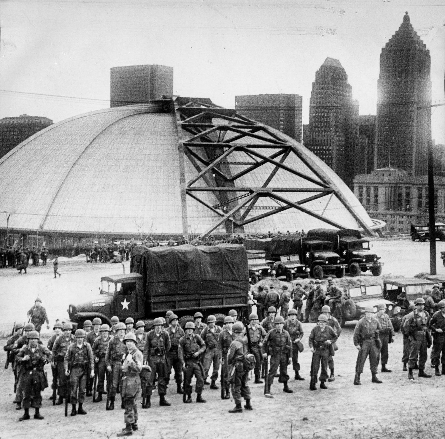 US National Guard staged outside the Civic Arena during the riots of April, 1968