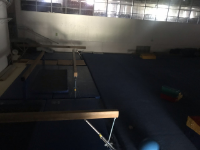 Picture of Arena floor turned into Gymnastics area.