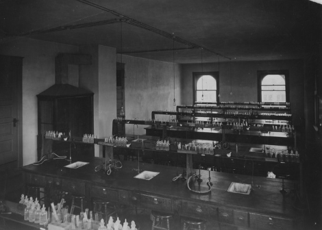Inside of a chemistry lab in Babcock Hall after the fire.