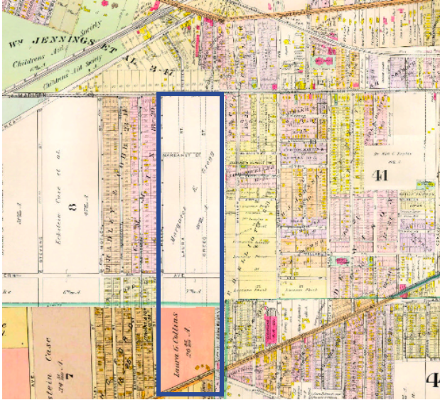 1898 Map Location of West Boulevard Allotment Before Subdivision. Laura Street and Gregg Street mark the approximate locations of West Boulevard and W 101st Street.