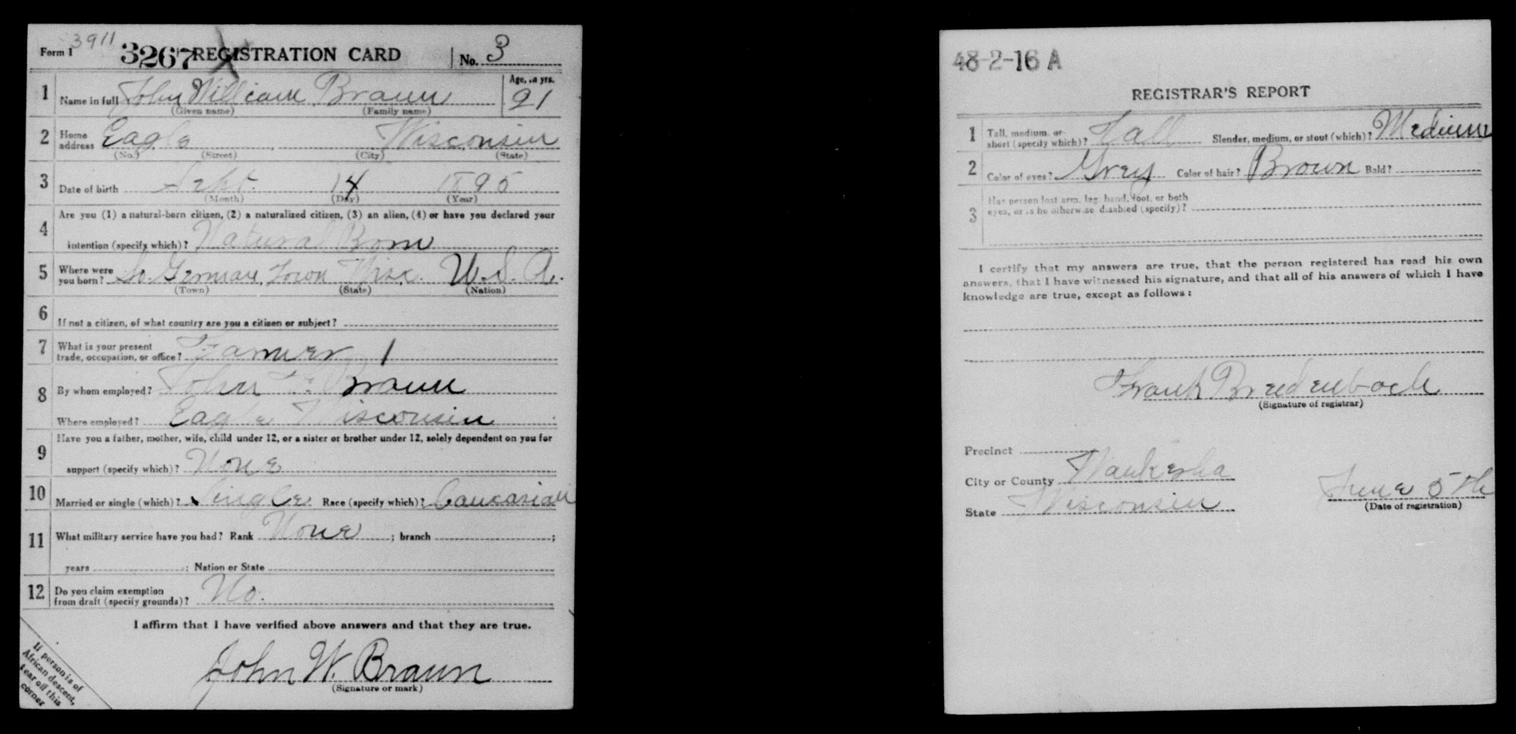 John W. Braun Draft Registration Card