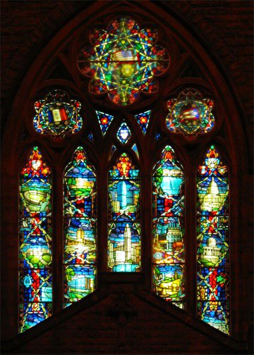 The Church in the World stained glass window in Trinity Episcopal. Photo courtesy of Todd Popp.