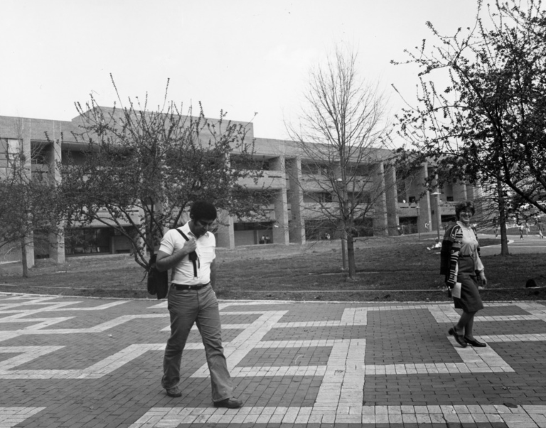 View of Bostian Hall from the Brickyard, circa 1980