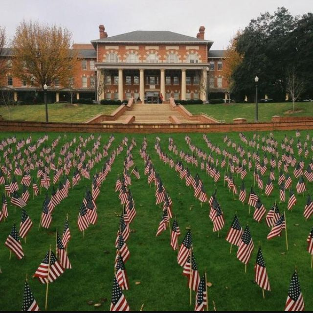 Court of Carolinas honors American veterans every year by filling its green turf with perfectly aligned arrays of American Flags.