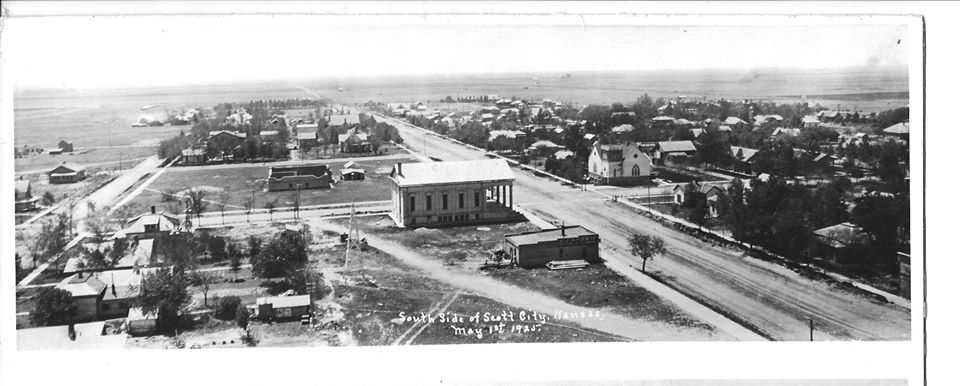 First Christian Church located on right of photo, 1925 arial photo