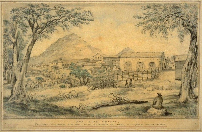 Mission San Luis Obispo as drawn by Edward Vischer, a German immigrant whose fascination with the California missions resulted in one of the best visual records of early California life.