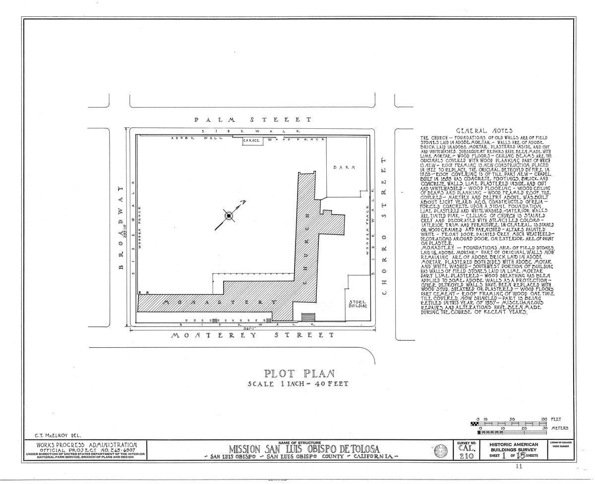 "Floorplan of the Mission. Note the unique ""L"" shape, which has no like among the 21 California missions."