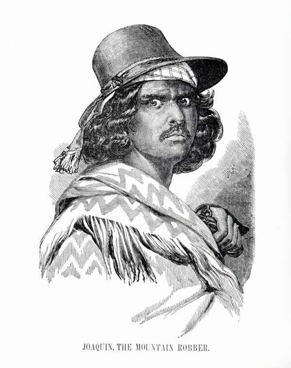 "A fanciful depiction of Joaquin Murrieta, the famed bandit who was one of California's most wanted men in the 1850s and inspiration for popular fictional character, ""Zorro."" He took over the mission for a few days in 1853."