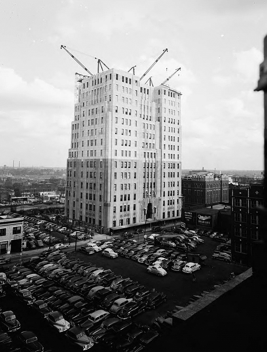 Southern Bell Telephone Building, March 3, 1947. The two colors show the original six floors along with the added eight floors constructed in the late '40s.