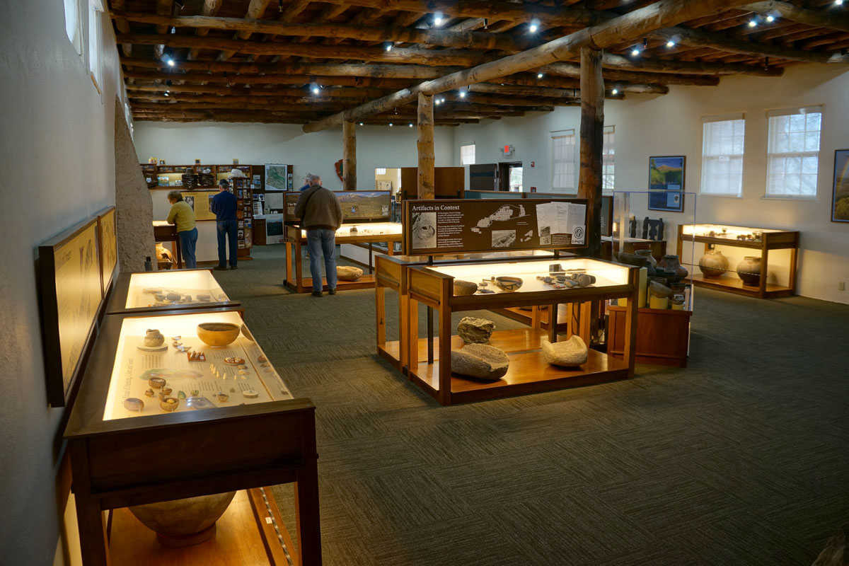 Artifacts recovered from the pueblo on display in the Visitor's Center