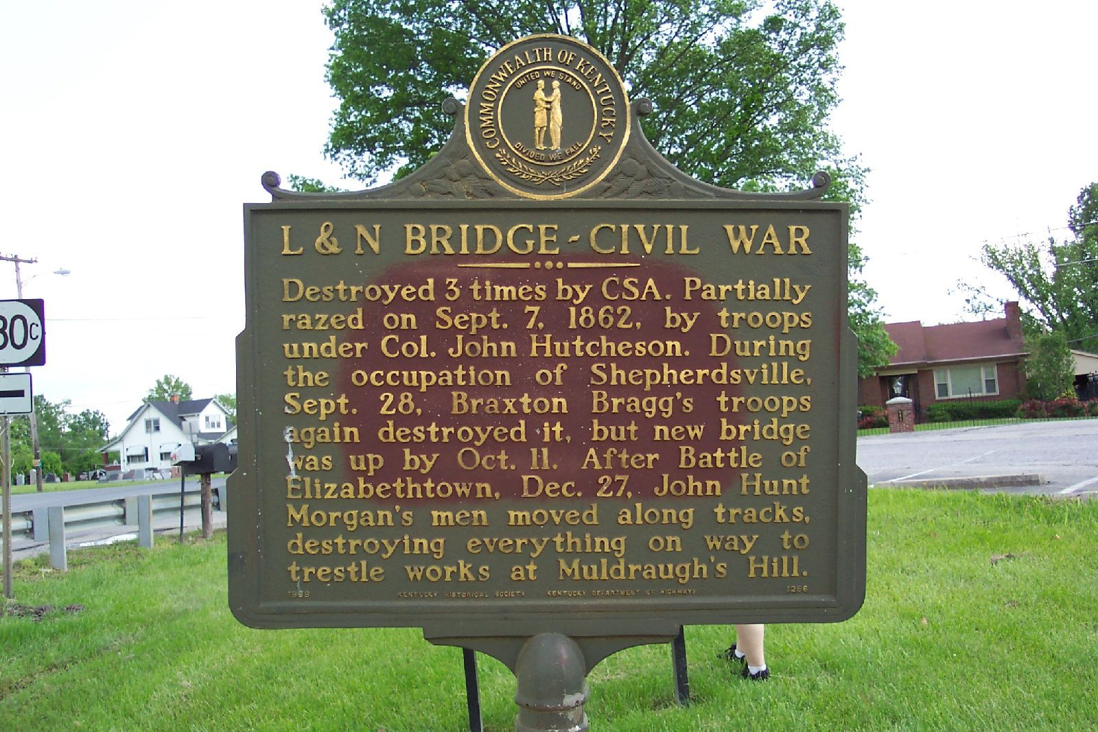 L&N Bridge monument. Fort DeWolf's prime purpose was to protect the railroad that passed over the Salt River in Bullitt County, Kentucky.