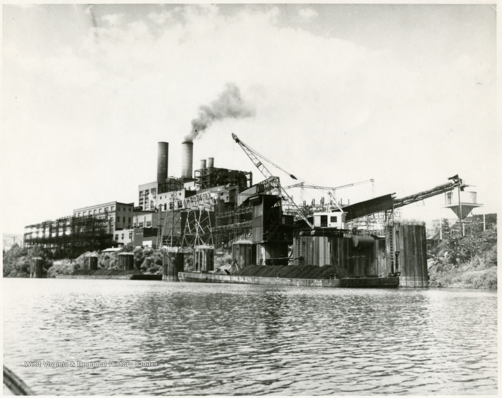 Undated photo of the Monongahela Power Station on the Monongahela River at Rivesville.