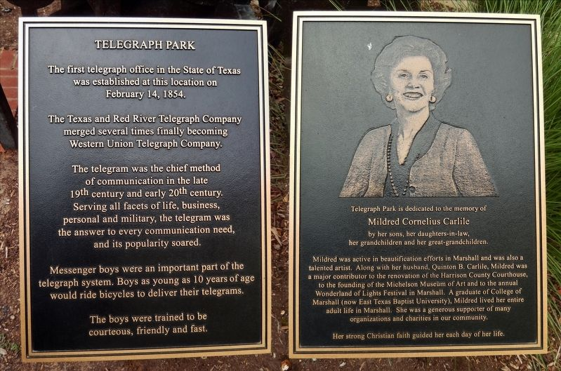 Historical Marker for Telegraph Park and dedication to Mildred Cornelius Carlile